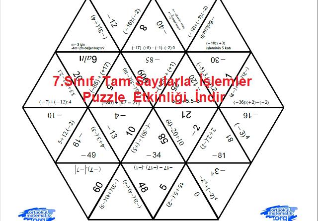 7.Sınıf Tam Sayılarla İşlemler Puzzle Etkinliği