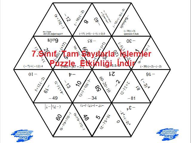 7sınıf Tam Sayılarla Işlemler Puzzle Etkinliği Ortaokul Matematik