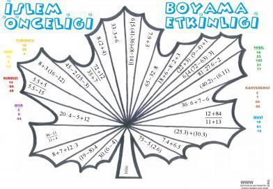 Islem Onceligi Yaprak Boyama Etkinligi Ortaokul Matematik
