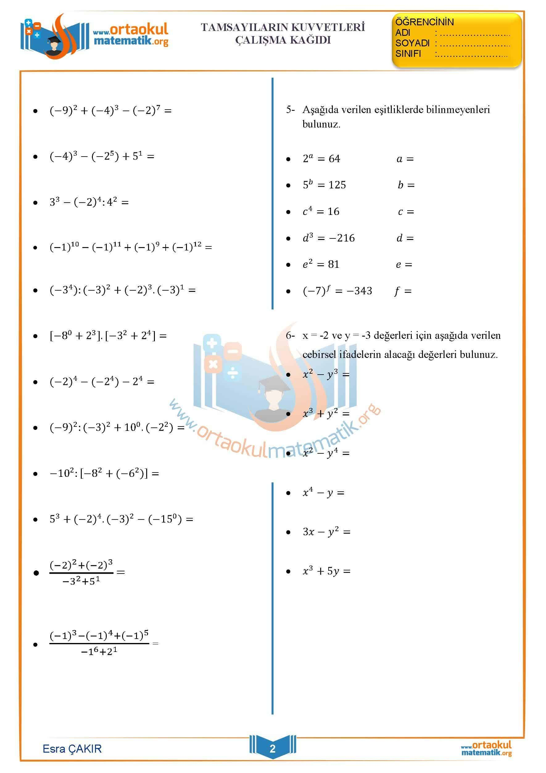 Uslu Ifadeler Calisma Kagidi Ortaokul Matematik