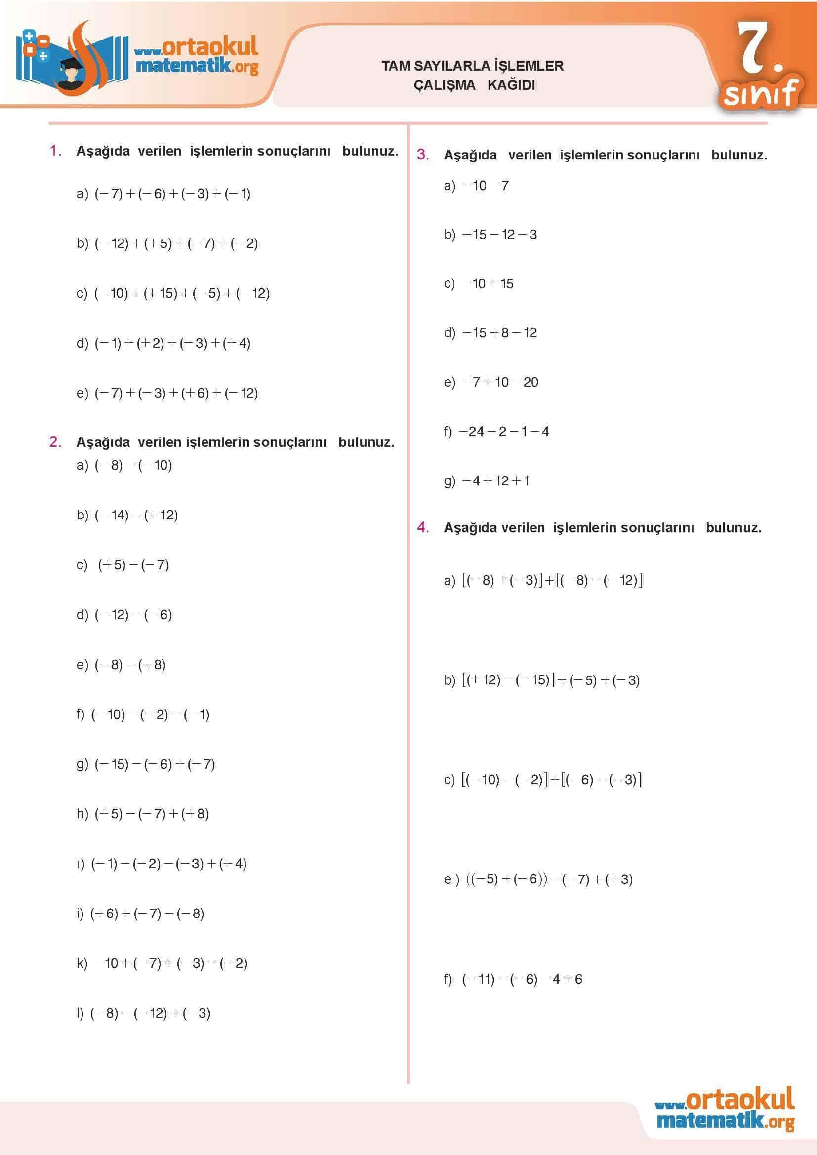 Tam Sayilarla Islemler Calisma Kagidi Ortaokul Matematik